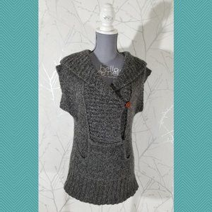 Free People Heathered Gray Knit Hooded Sweater